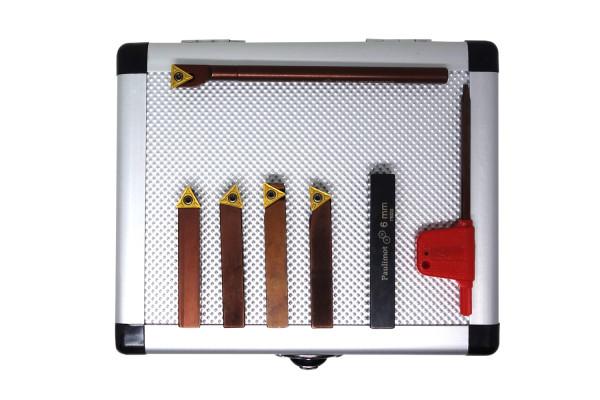 Drehstahl-Satz Drehmeißel-Set mit Wendeplatten, 8 mm, 5-teilig mit Bohrstange Ø 6 m